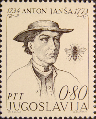 Podobizeň Antona Janša na Juhoslovanskej poštovej známke.