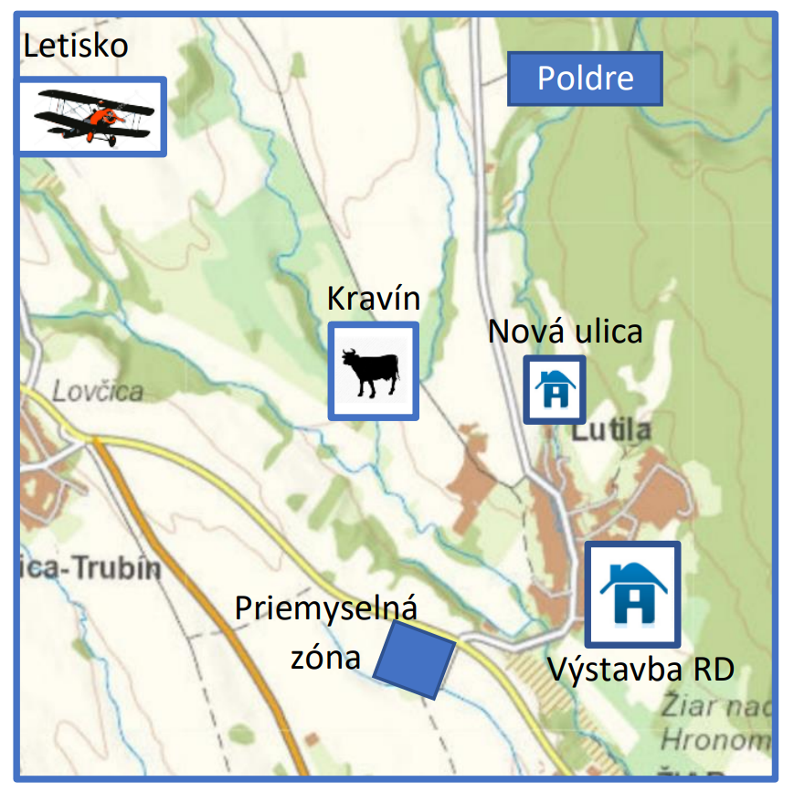 Obrázok 2 Približné zobrazenie niektorých lokalít, ktoré sú riešené v doplnkoch k ÚP. Zdroj mapy mapka https://zbgis.skgeodesy.sk/ .