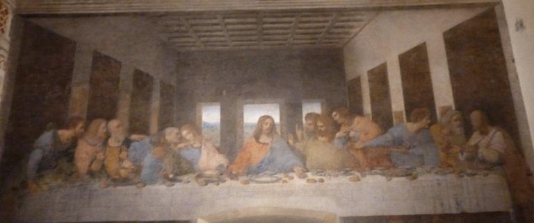 Posledná večera - nástenná maľba renesančného umelca Leonarda da Vinciho na čelnej stene refektára kostola Santa Maria delle Grazie v Miláne. (foto: imriš, 2019)