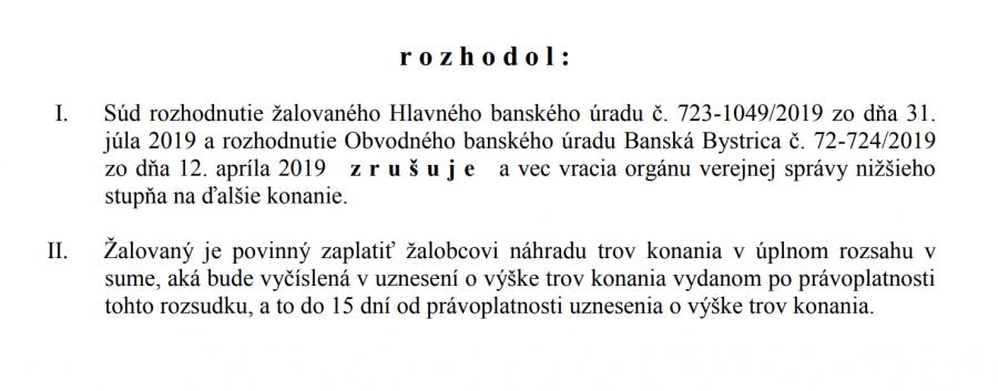 časť textu z rozhodnutia súdu
