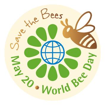 """Oficiálne logo """"Svetový deň včiel"""". Nadpis hore: """"Zachráň včely"""". Nadpis dole: """"20 máj. - Svetový deň včiel"""""""