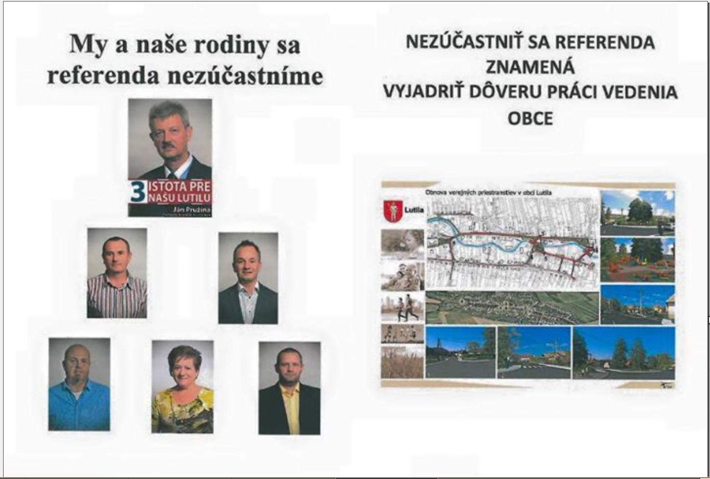 Obrázok 1 Časť letáku, ktorý bol rozdávaný v obci pred referendom v roku 2015.