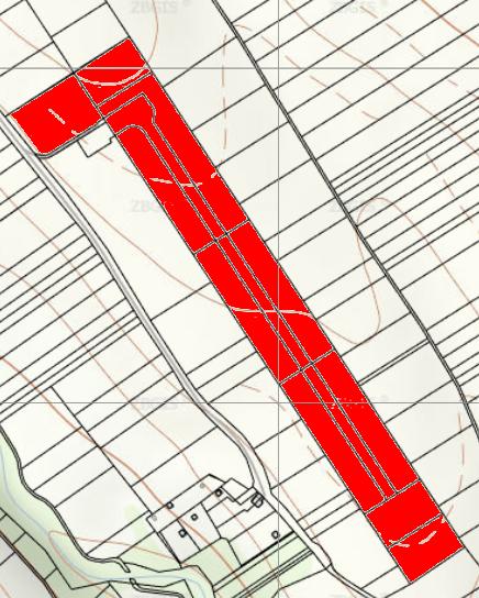 Štruktúra pozemkov po komasácii r. 2014. Mapový podklad zdroj: https://zbgis.skgeodesy.sk/ a príloha podnetu.