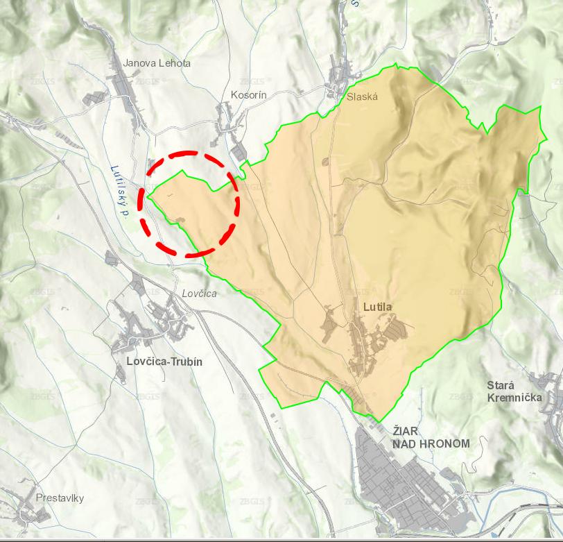 poloha letiska približne označená červeným kruhom