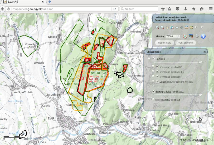 Obrázok: Zobrazenie ložísk za obcou Lutila (zdroj: web-stránka Štátneho geologického ústavu Dionýza Štúra (ŠGÚDŠ) – http://www.geology.sk, 2015)