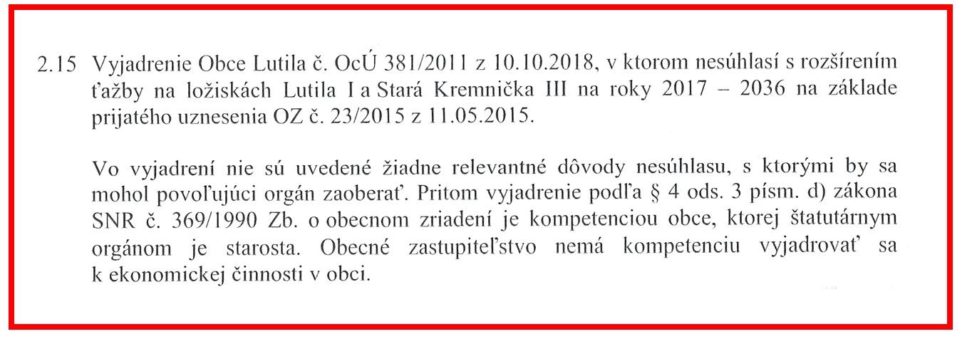 Obrázok: Časť rozhodnutia hlavného banského úradu z 31.07.2019 (číslo 723-1049/2019) o povolení ťažby na ložisku Lutila I.
