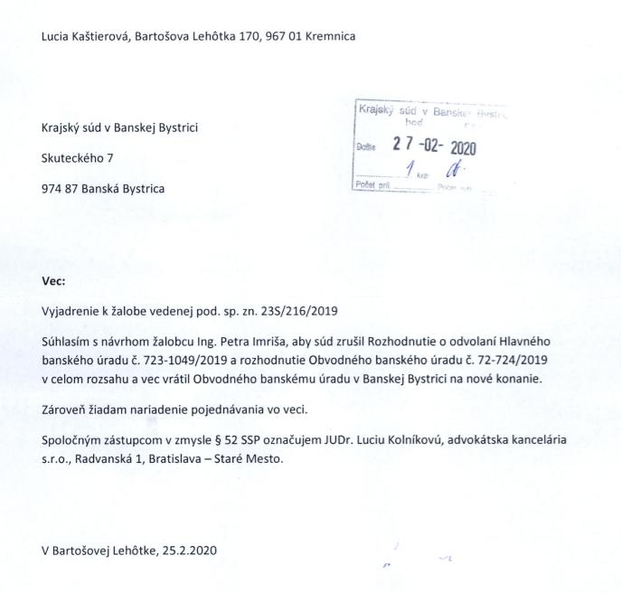 Obrázok: Stanovisko k žalobe od Lucie Kaštierovej z Bartošovej Lehôtky.