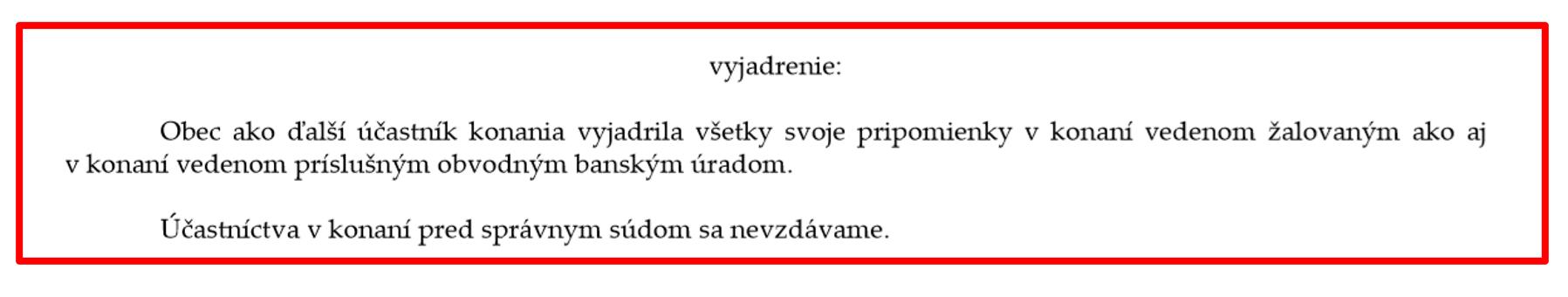 Obrázok: Časť vyjadrenia obce Lutila v súdnom konaní, obec zastupuje JUDr. Filip Šurka. Celé stanovisko obce sa da pozrieť kliknutím na obrázok.