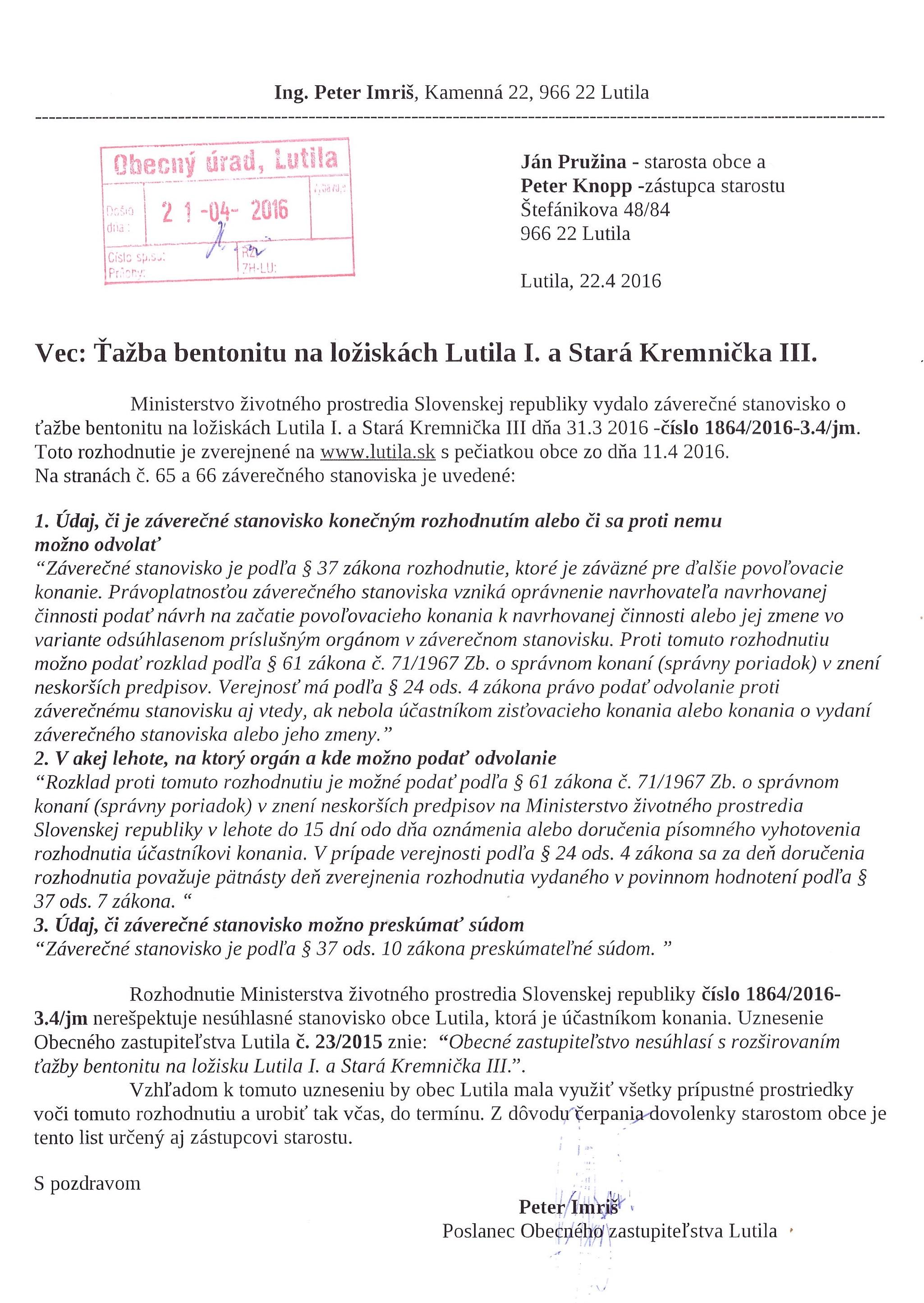 Obrázok: Žiadosť opozičného poslanca z 22.04.2016, aby sa obec odvolala voči EIA.